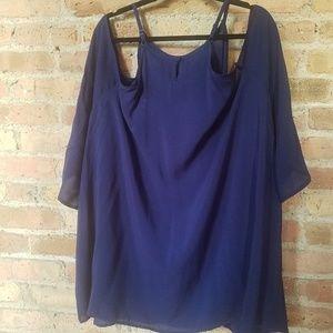 NWT - Torrid Blue Cold Shoulder Blouse - 26